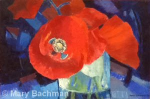 Poppies in a Glass by Mary Bachman